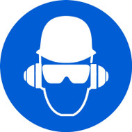 Wear Head, Hearing, & Eye Protection ISO Safety Sign