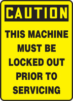 Caution - This Machine Must Be Locked Out Prior To Servicing - Dura-Fiberglass - 14'' X 10''