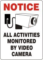 All Activities Monitored By Video Camera Sign