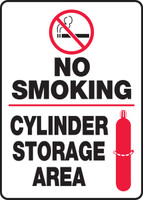 No Smoking Cylinder Storage Area (W/Graphic) - Plastic - 14'' X 10''