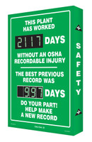 Digi Day 2 Electronic Safety Scoreboard  Accuform SCG117