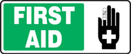 "First Aid Sign w/ graphic  7"" x 17"" Plastic"