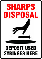 MBHZ517VA Sharps Disposal Deposit Used Syringes Here Sign