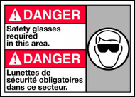Danger Safety Glasses Required In This Area Sign