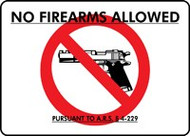 No Firearms Allowed Pursuant To A.R.S. 4-229 Sign