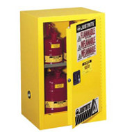 Justrite Yellow Compac  Safety Cabinet 12 gal.- Self Closing  Door