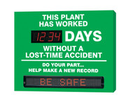 Accuform SMT247 Digi Day Moving Message Safety Scoreboard