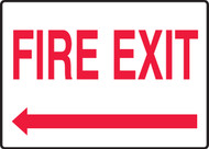Fire Exit (Arrow Left) - Adhesive Dura-Vinyl - 7'' X 10''