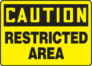 caution restricted area sign MADM604