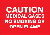 caution medical gases no smoking or open flames sign MGS142