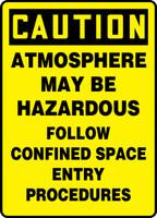 Caution - Atmosphere May Be Hazardous Follow Confined Space Entry Procedures - Dura-Fiberglass - 14'' X 10''