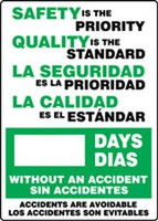 Write A Day Safety Scoreboard- Safety Is the Priority- Bilingual