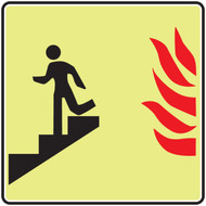 Use Stairs Down Sym With Flame Glow Sign