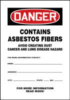 MCAW024XT Chemical Hazard Sign Danger Contains Asbestos Fibers Sign
