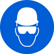 MISO118 ISO Safety Sign- Wear head and eye protection sign