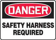 Danger - Safety Harness Required - Adhesive Dura-Vinyl - 7'' X 10''