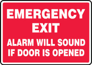 Emergency Exit Alarm Will Sound If Door Is Opened