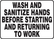 Wash And Sanitize Hands Before Starting And Returning To Work 1