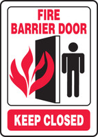 Fire Barrier Door Keep Closed Sign