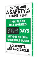 Digi Day 3 Electronic Safety Scoreboard Accuform SCK114