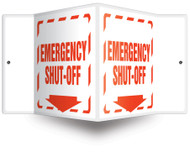 "Emergency Shut-Off - 3D 6"" x 5"" - Safety Panel - Projection Sign"