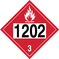 4-Digit DOT Placards: Hazard Class 3 - 1202 (Diesel Fuel)