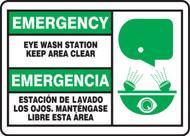 Bilingual Emergency Safety Sign: Eye Wash Station - Keep Area Clear