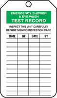"Emergency Shower & Eye Wash Test Record - 4 1/4"" x 2 1/8"" - PF Cardstock - Mini Safety Tag"