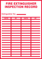 Fire Safety Label: Fire Extinguisher Inspection Record (Red On White)