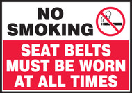 No Smoking Safety Label: Seat Belts Must Be Worn At All Times