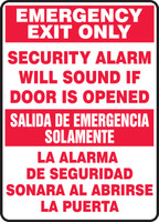 Bilingual Safety Sign: Emergency Exit Only - Security Alarm Will Sound If Door Is Opened
