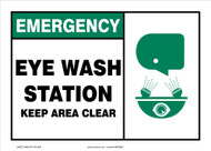 Emergency Safety Sign: Eye Wash Station - Keep Area Clear