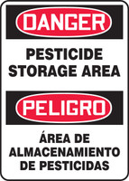 Bilingual OSHA Danger Safety Sign: Pesticide Storage Area