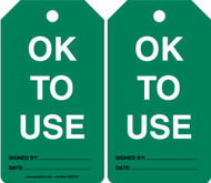 Equipment Status Safety Tag: OK To Use