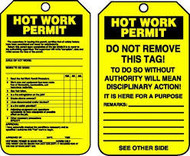 "Hot Work Status - 5 3/4"" x 3 1/4"" - PF Cardstock - 25/PK - Safety Tag"