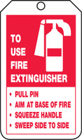 Fire Extinguisher Safety Tag: Fire Extinguisher Instructions