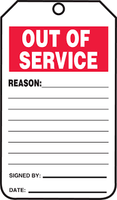 "Out Of Service - 5 3/4"" x 3 1/4"" - PF Cardstock - 25/PK - Safety Tag"