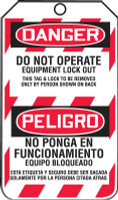 Bilingual OSHA Danger Lockout Tag: Do Not Operate - Equipment Lock Out