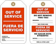 "Out Of Service(Spanish Bilingual - 5 3/4"" x 3 1/4"" - PF Cardstock - 25/PK - Safety Tag"