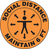 Slip-Gard Floor Sign: Social Distance Maintain 6 FT (Person image)