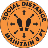 Slip-Gard Floor Sign: Social Distance Maintain 6 FT (Footprint image)