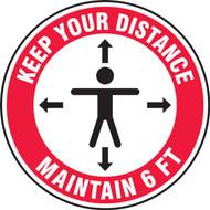 Slip-Gard Floor Sign: Keep Your Distance Maintain 6 FT