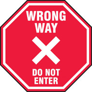 Slip-Gard Floor Sign: Wrong Way Do Not Enter