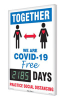 Digi-Day® 3 Electronic Safety Scoreboard: Together We Are COVID-19 Free For xxxx Days Practice Social Distancing