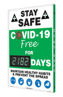 Digi-Day® 3 Electronic Safety Scoreboard: Stay Safe COVID-19 Free For xxxx Days Maintain Healthy Habits & Prevent The Spread