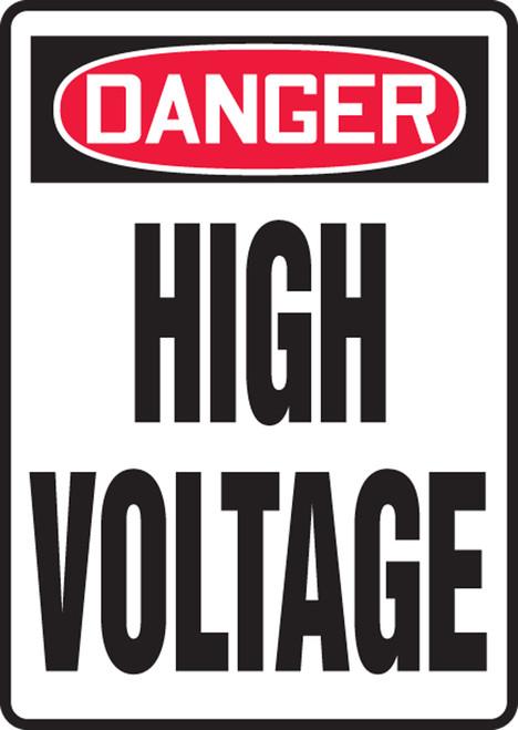 Danger - High Voltage - Adhesive Dura-Vinyl - 14'' X 10''