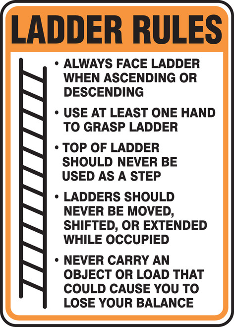 Ladder Rules Sign - adhesive vinyl label- MCRT543VS