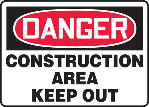 Danger - Construction Area Keep Out - Adhesive Dura-Vinyl - 14'' X 20''