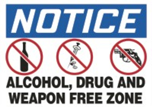 Changeable Sign Floor Mat - Notice Alcohol, Drug And Weapon Free Zone
