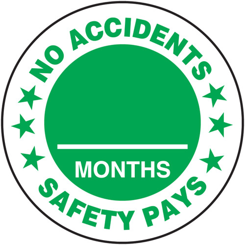 No Accidents Safety Pays ___ Months Hard Hat Decal